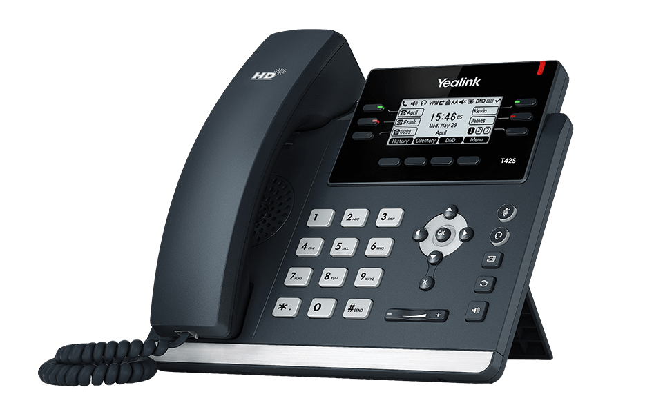 Yealink T42S phone, designed for VoIP.