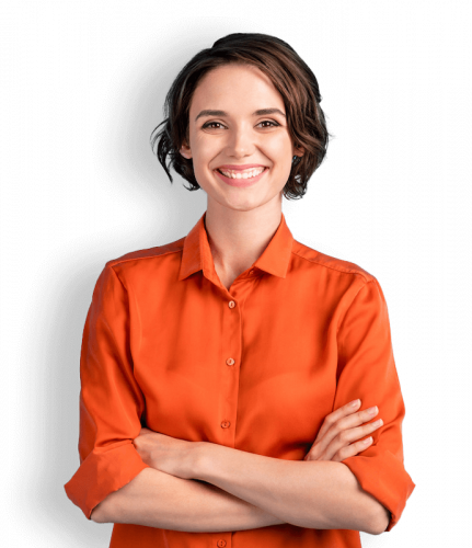 Woman with crossed arms, smiling at the thought of Cloud PBX features.